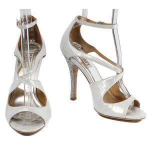 MADGLEY MISCHKA Silver Strappy Glitter Heel Pumps
